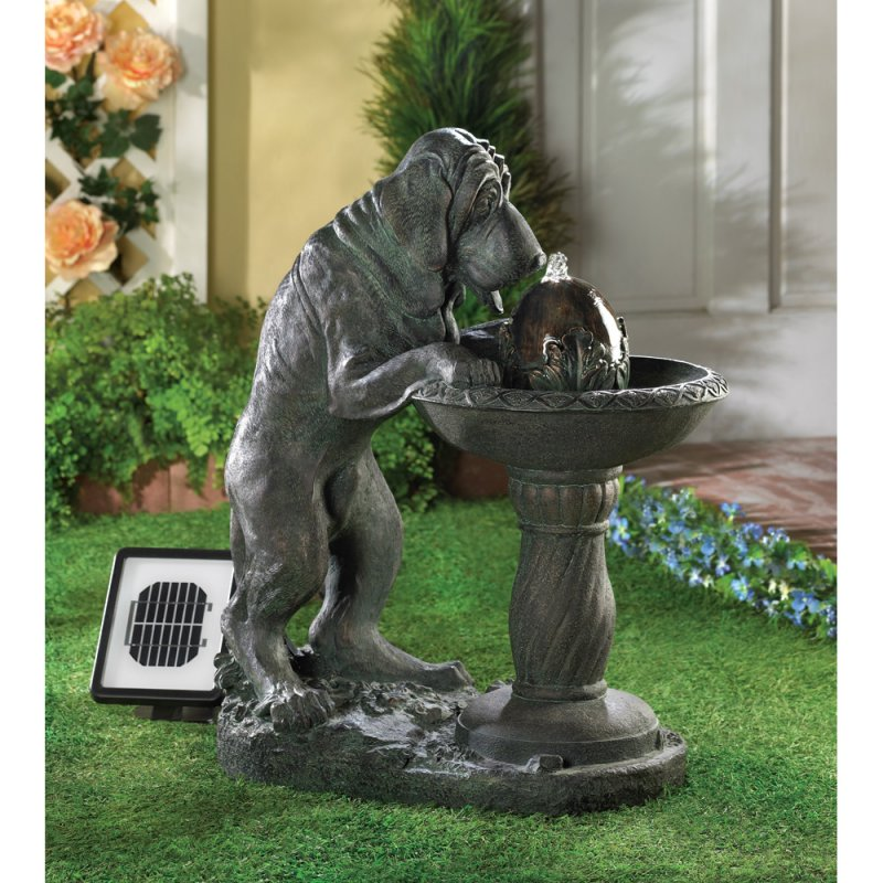 Water fountain depicts a parched pooch