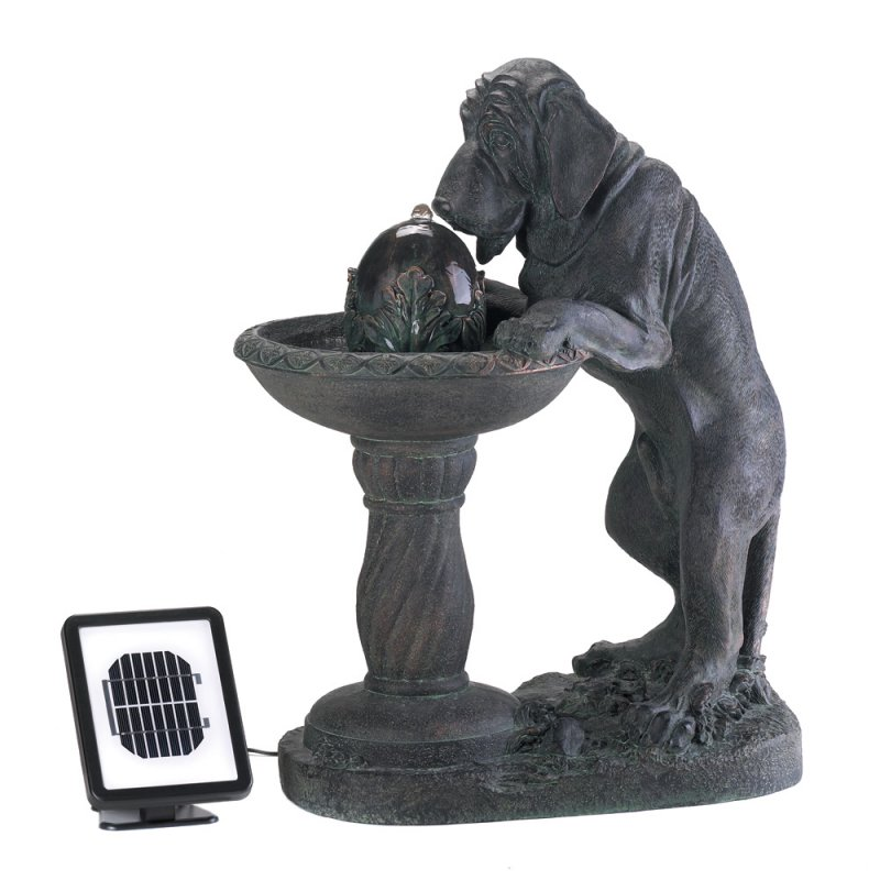 Image 1 of Thirsty Hound Dog Solar Water Fountain Garden Statue Solar Panel, Pump, Included