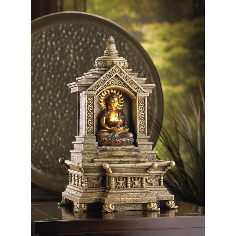 Golden Buddha in Temple Serenity Tabletop Water Fountain Electic Pump Included