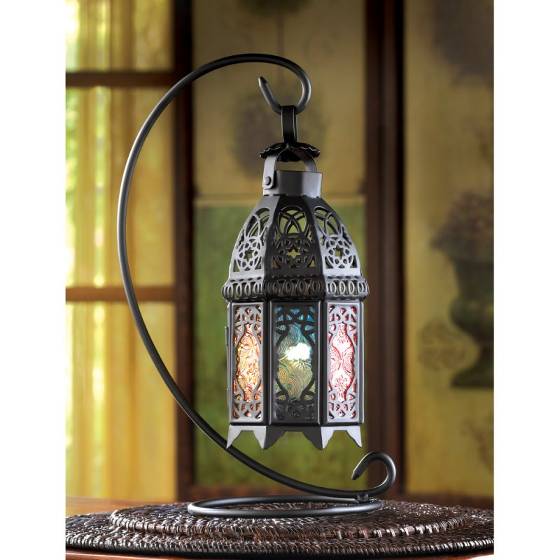 Black Moroccan Style Lantern On Stand Multi-Color Glass Wedding Centerpieces