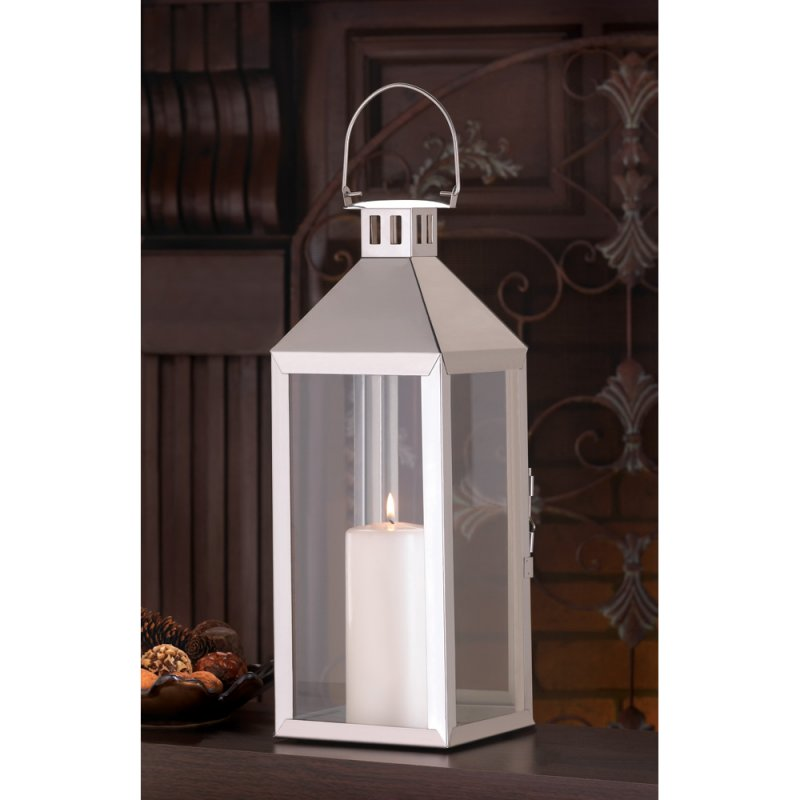 Contemporary Soho Silver Finish Pillar Hurricane Lantern Wedding Centerpieces