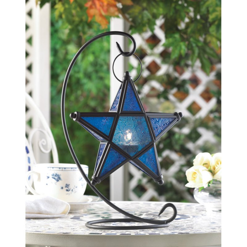 Image 0 of Sapphire Blue Star Lantern on Matte Black Swirl Stand  Wedding Centerpieces