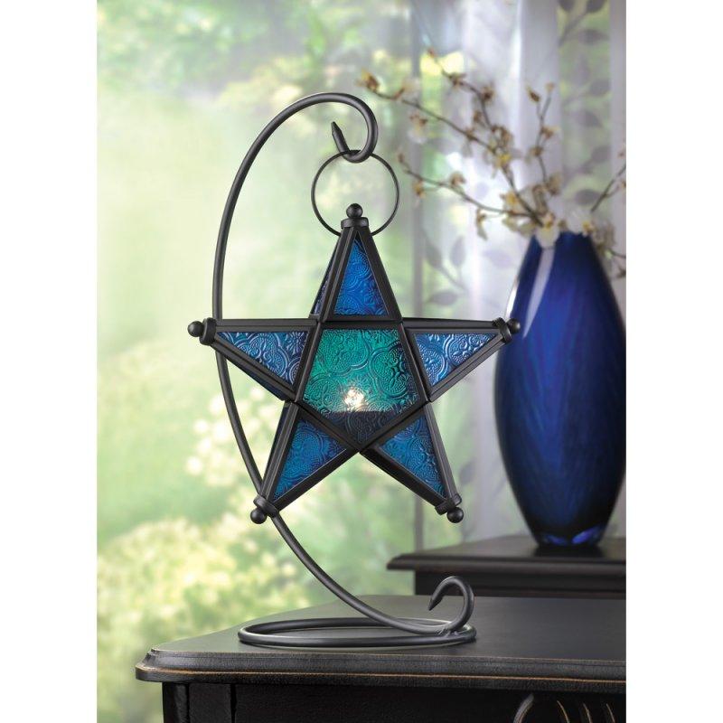 Image 1 of Sapphire Blue Star Lantern on Matte Black Swirl Stand  Wedding Centerpieces