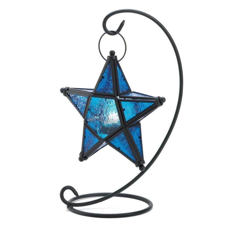 Image 2 of Sapphire Blue Star Lantern on Matte Black Swirl Stand  Wedding Centerpieces