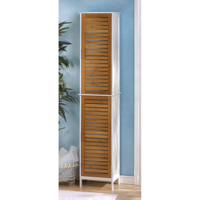 Image 0 of Kyoto Contemporary Tall Double Linen Cabinet White with Bamboo Louver Doors