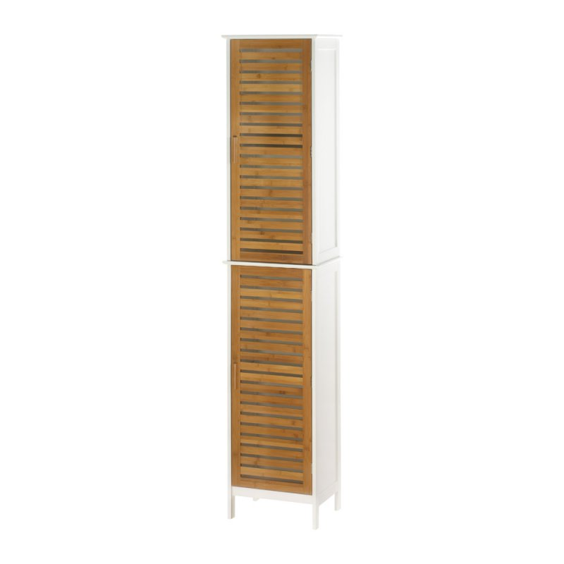 Image 1 of Kyoto Contemporary Tall Double Linen Cabinet White with Bamboo Louver Doors