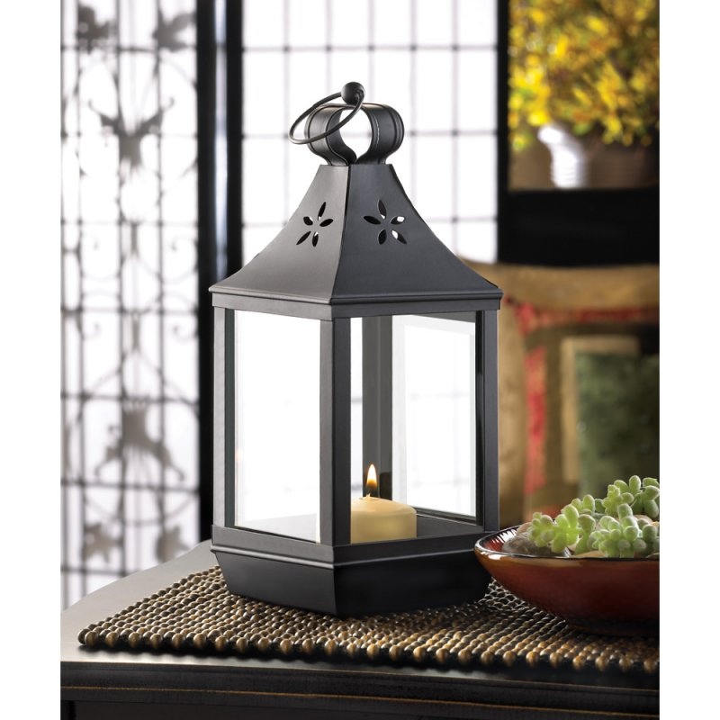 Black Colonial Carriage Style Pillar Candle Lantern Wedding Centerpiece