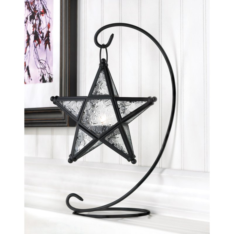 Image 0 of Starlight Star Lantern on Swirl Black Iron Stand