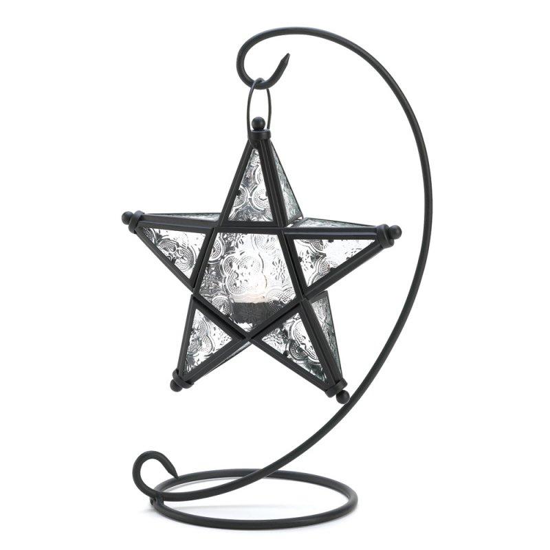 Image 1 of Starlight Star Lantern on Swirl Black Iron Stand