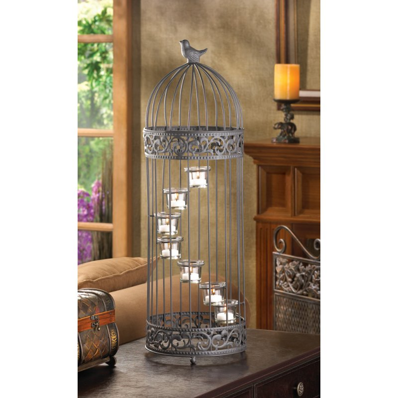 Birdcage 7 Cup Stair-Step Staircase Tealight Candle Holder Centerpiece 28 in.
