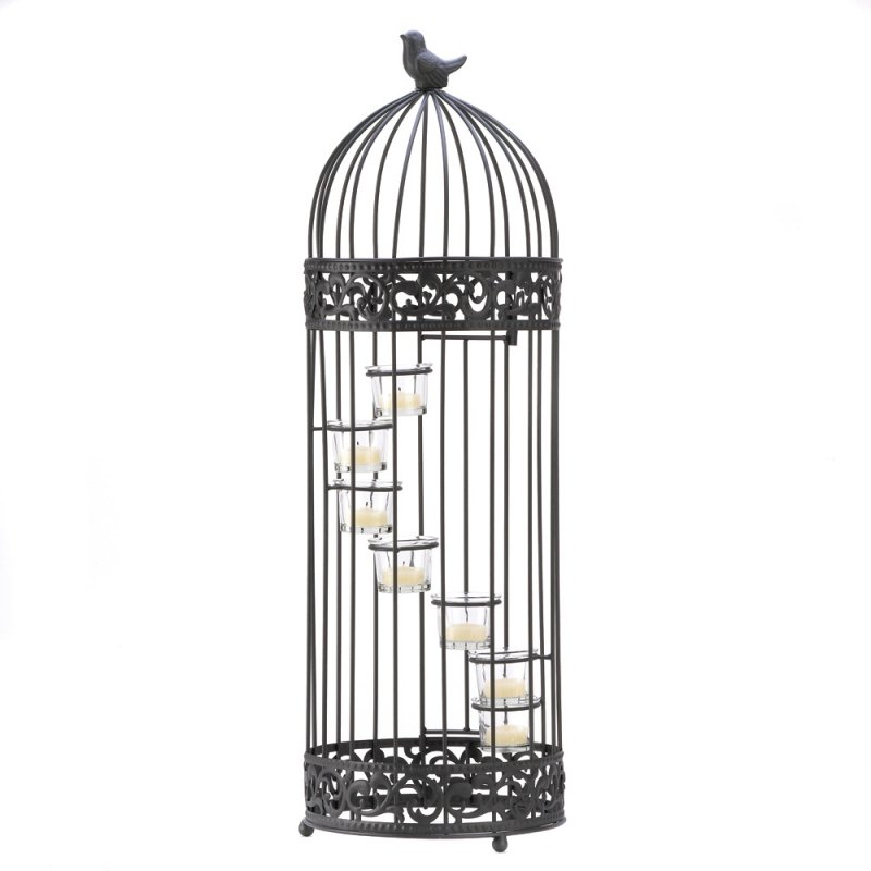 Image 1 of Birdcage 7 Cup Stair-Step Staircase Tealight Candle Holder Centerpiece 28 in.