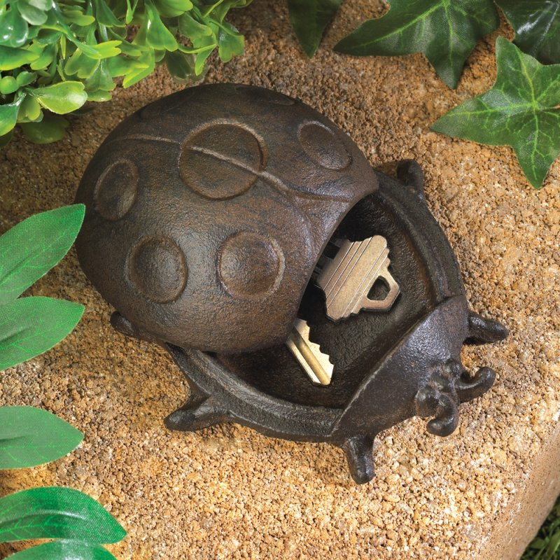 Image 0 of Cast Iron Ladybug Key Hider Figurine Garden Decor