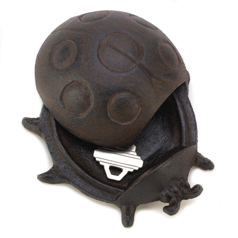 Image 2 of Cast Iron Ladybug Key Hider Figurine Garden Decor