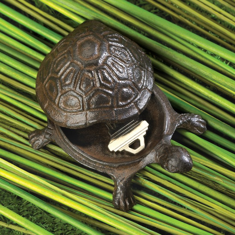 Image 1 of Cast Iron Old World Turtle Key Hider Figurine Garden Decor