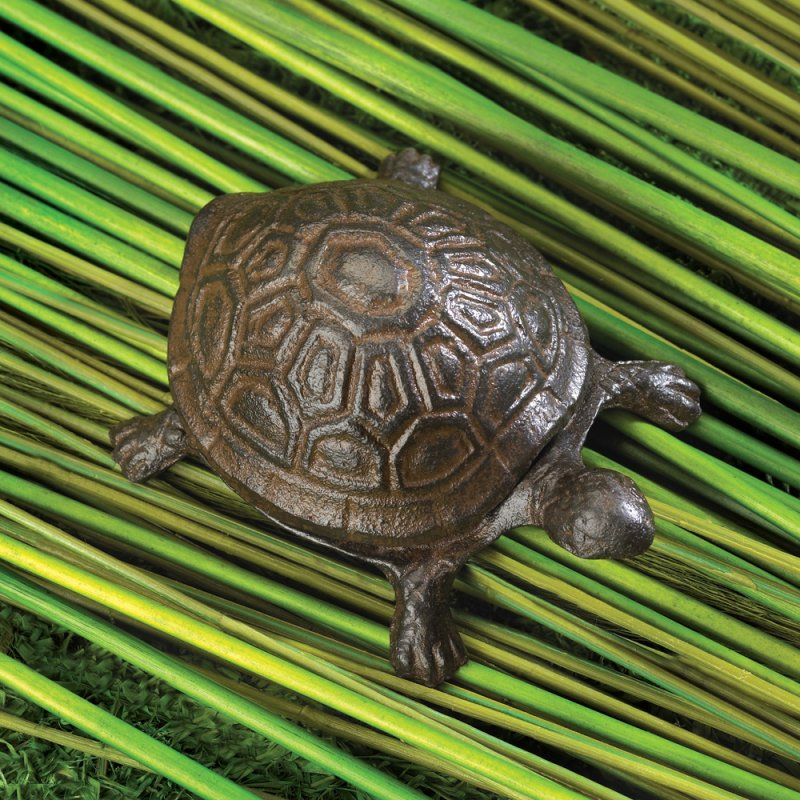 Image 2 of Cast Iron Old World Turtle Key Hider Figurine Garden Decor