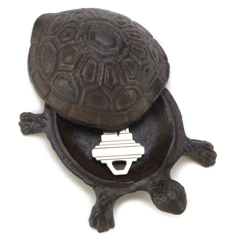 Image 2 of Cast Iron Old World Turtle Key Hider Figurine Garden Decor