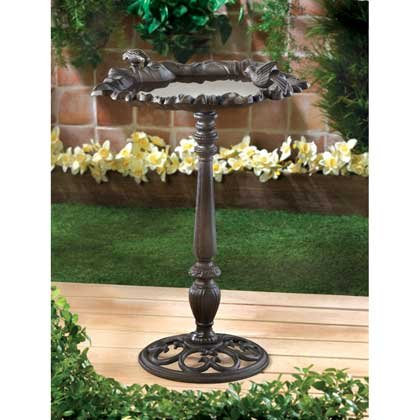 Weathered Finish Forest Frolic Cast Iron Birdbath Scrollwork Base Garden Decor