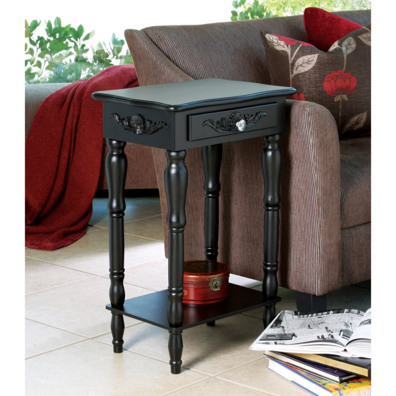 Black Colonial Side, End Table or Night Stand Curvy Carvings, Pull Knob Drawer