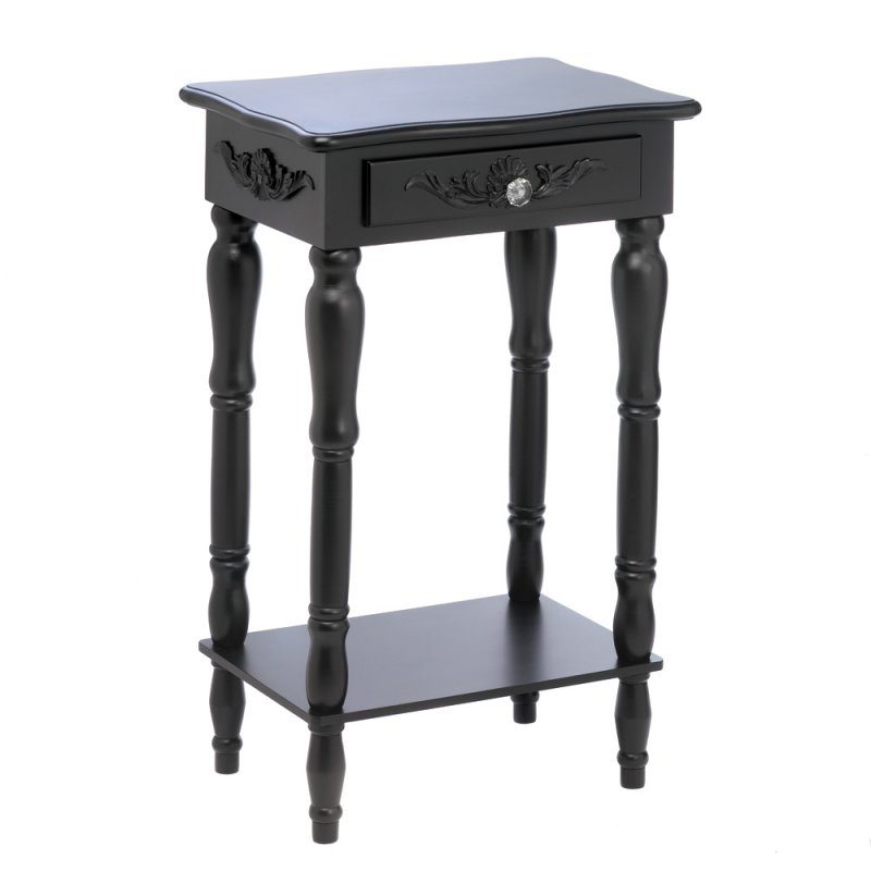 Image 1 of Black Colonial Side, End Table or Night Stand Curvy Carvings, Pull Knob Drawer