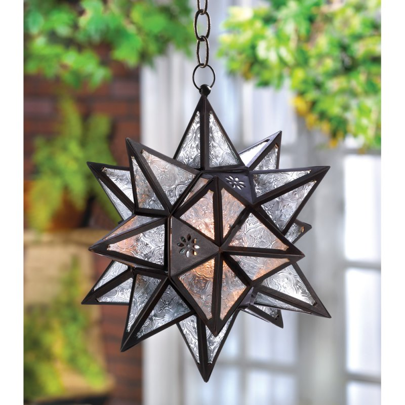 Image 0 of Moroccan Style Hanging Star Lantern Outdoor Lighting Garden Decor