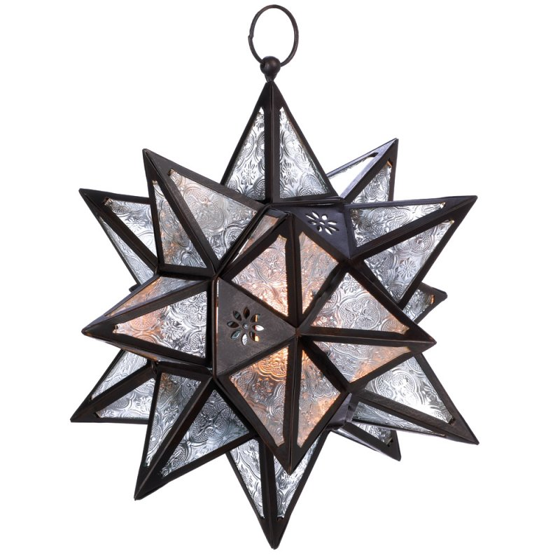Image 1 of Moroccan Style Hanging Star Lantern Outdoor Lighting Garden Decor