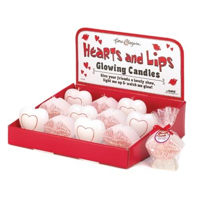 Lot of 12 Romantic Hearts and Kiss Shaped Glowing Candles in Display Box