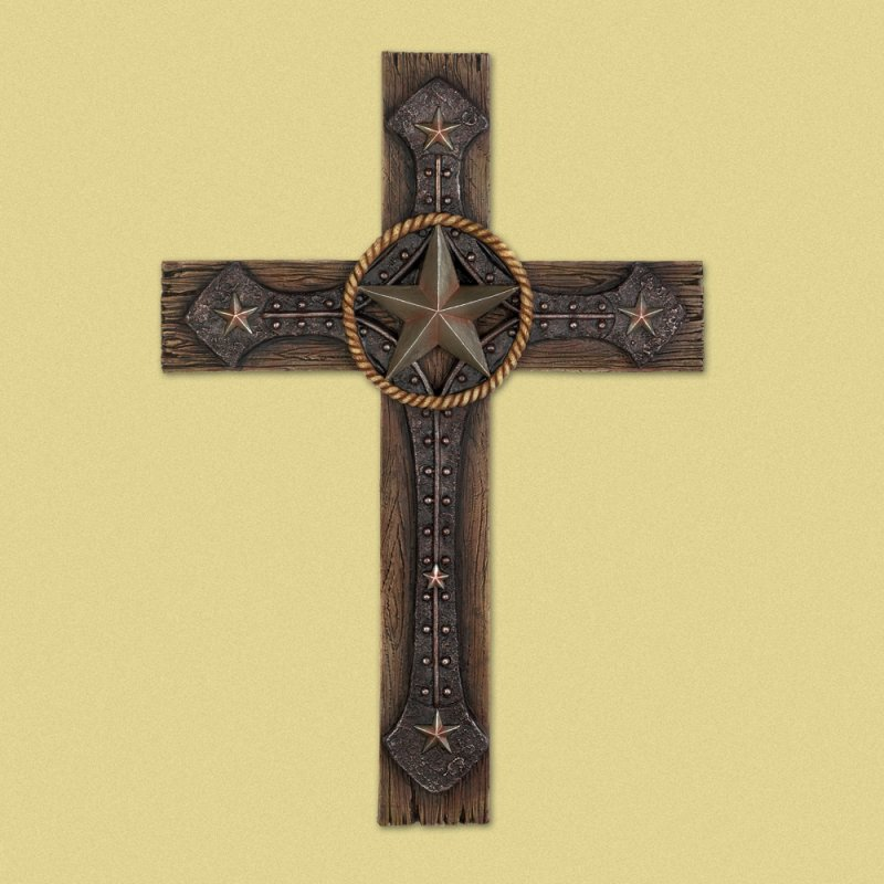 Image 0 of Rustic Western Cowboy Styling Lone Star Wall Cross