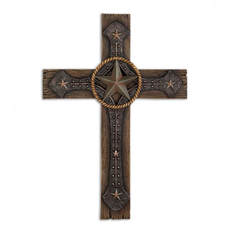 Image 1 of Rustic Western Cowboy Styling Lone Star Wall Cross