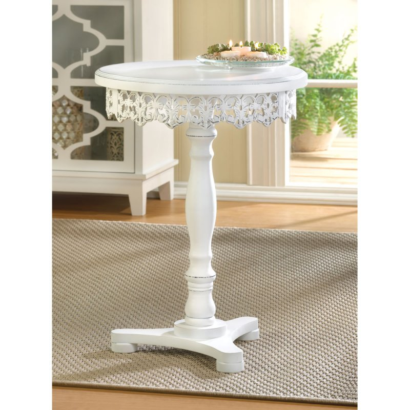Shabby White Flourish Chic Pedestal Accent Table Decorative Cutwork Around Base