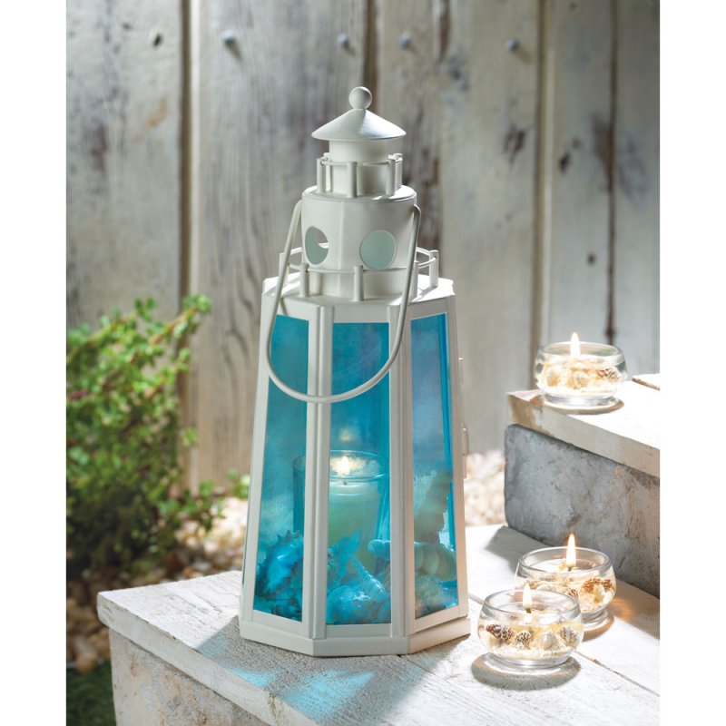 Ocean Blue Glass White Lighthouse Candle Lantern Lamp Wedding Centerpieces