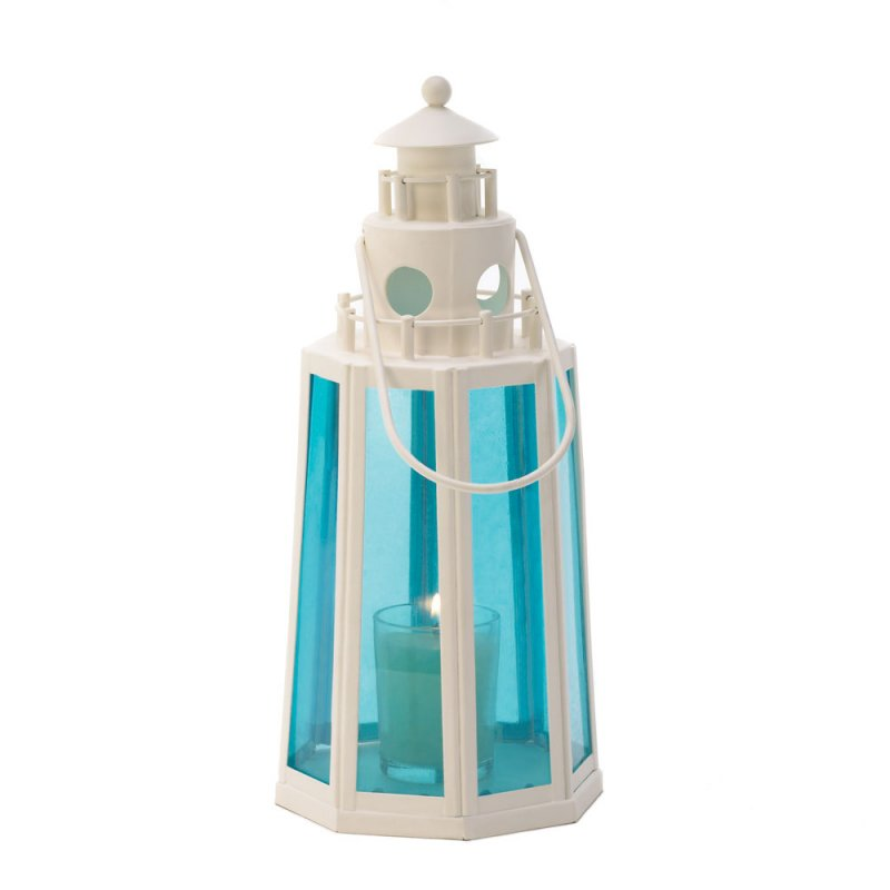 Image 1 of Ocean Blue Glass White Lighthouse Candle Lantern Lamp Wedding Centerpieces