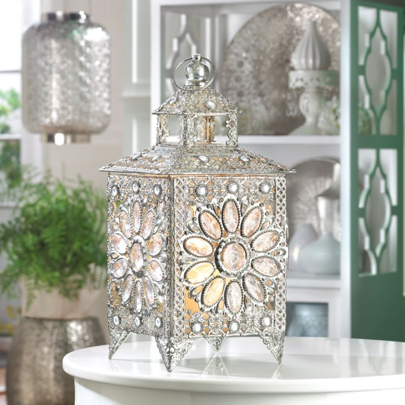 Faceted Crown Jewels Set in Silver-Tone Candle Lantern Wedding Centerpiece