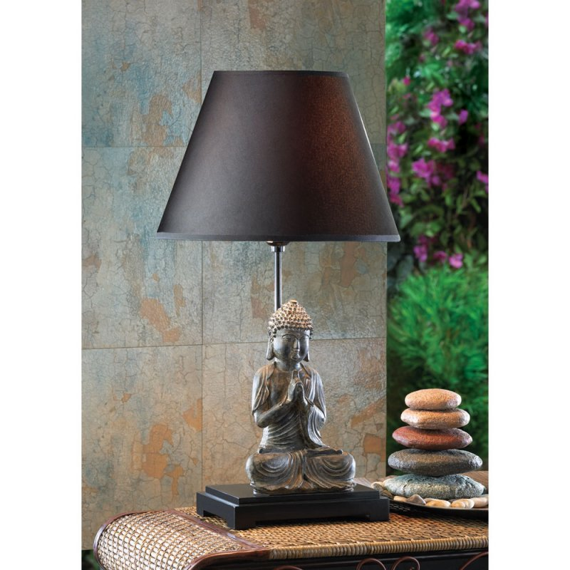 Modern Contemporary Sitting Buddha Figurine Table Lamp Asian Decor