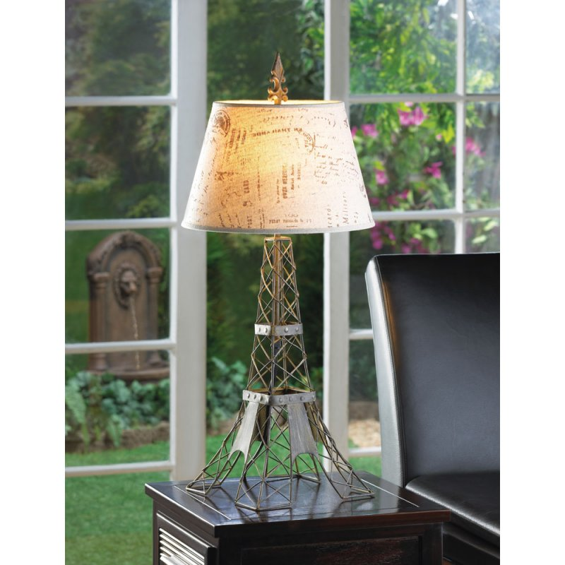 French Parisian Eiffel Tower Table Lamp with Travel Stamped Hemp Shade