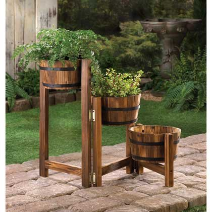 Rustic Country Three Apple Barrel Planter Tri-Level Hinged Adjustable Ladder
