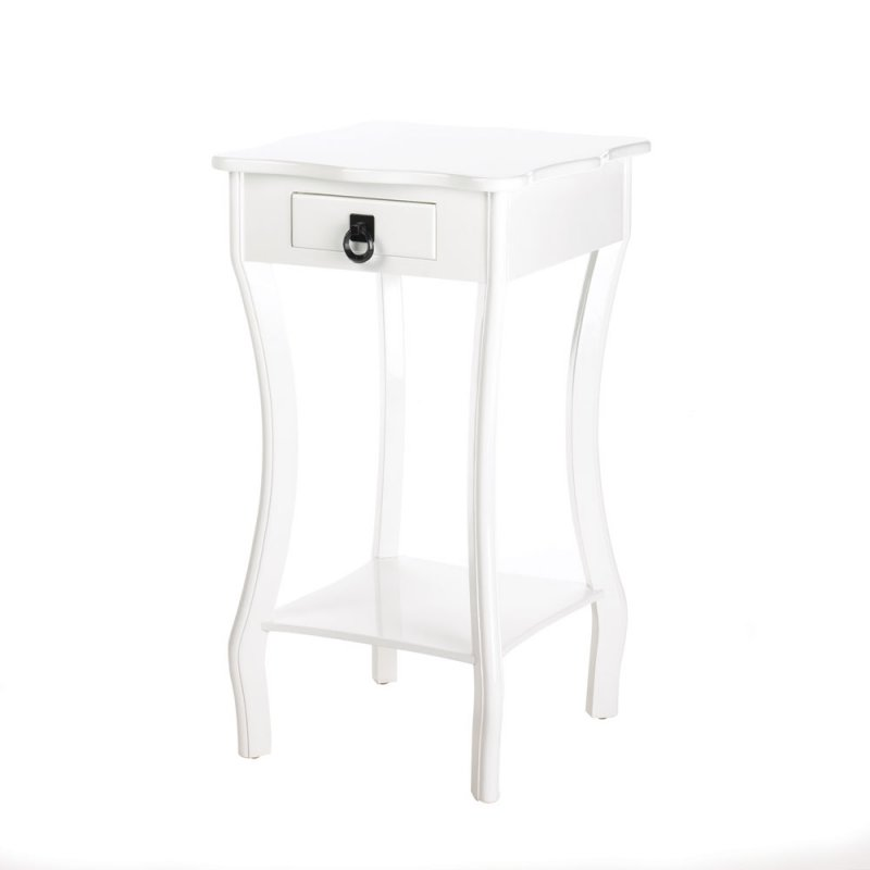 Image 1 of Glossy White Scalloped Tabletop with Bottom Shelf & Drawer Accent, End Table