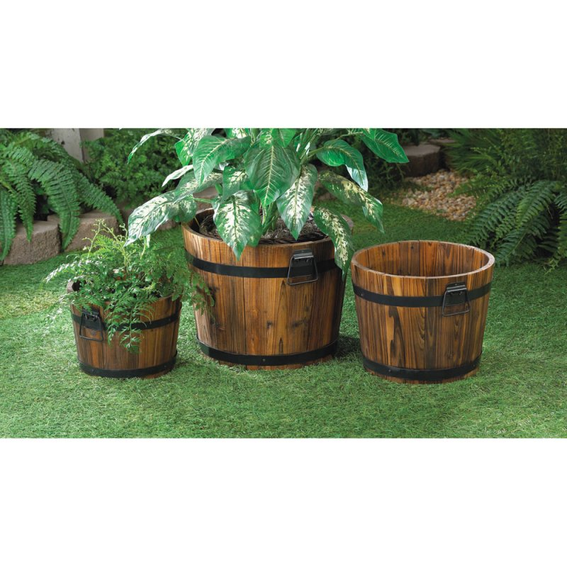 Set of 3 Apple Barrel Planters with Black Metal Banding and Handles Patio Decor
