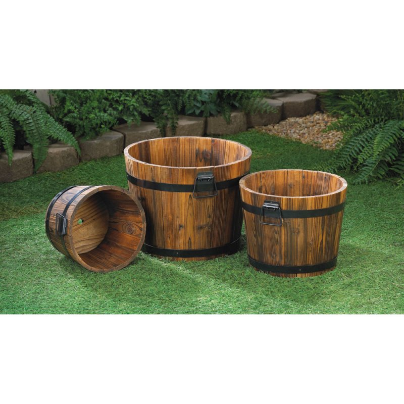 Image 1 of Set of 3 Apple Barrel Planters with Black Metal Banding and Handles Patio Decor