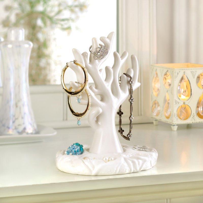 Image 0 of White Porcelain Sea Coral Design Necklaces, Bracelets, Rings, Earrings Holder