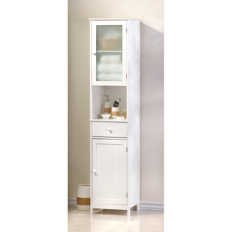 Lakeside Tall White Bathroom, Kitchen, Hallway Storage Cabinet, w ...