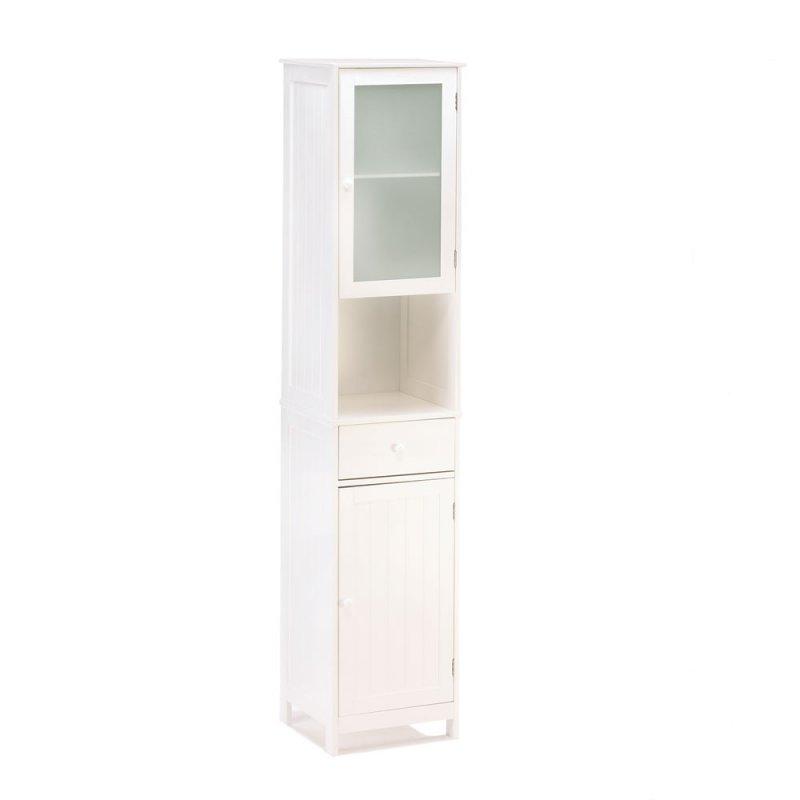 Image 1 of Lakeside Tall White Bathroom, Kitchen, Hallway Storage Cabinet, w/ Drawer, Shelf