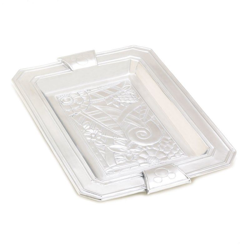Image 0 of Disney Mickey Mouse Elegant Silvertone Platter Serving Tray Art Deco Styling