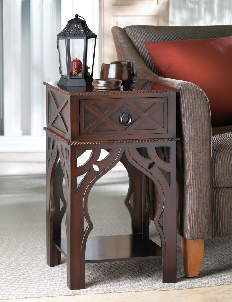 Image 0 of Moroccan Style Carved Side, End, Accent Table Night Stand w/ Drawer & Shelf