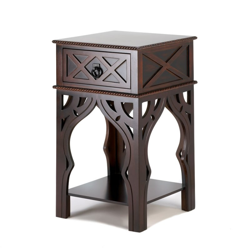 Image 1 of Moroccan Style Carved Side, End, Accent Table Night Stand w/ Drawer & Shelf