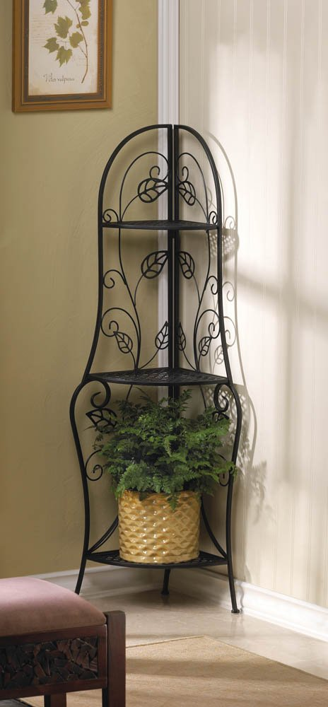 Bakers Rack Corner Shelf Trellis Climbing Leaf Design Plant Stand