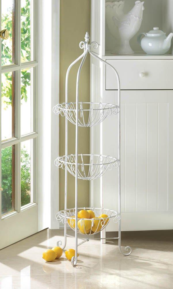 White Bakers Rack Corner Basket Stand w/ Finial on Top for Plants, Fruit, Veggie