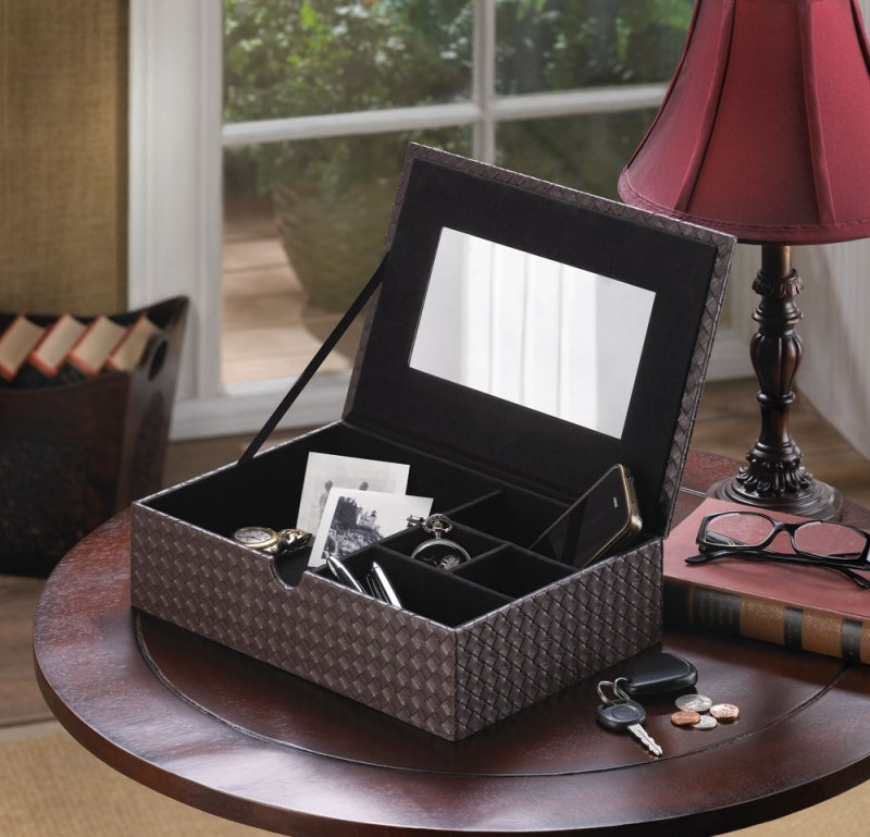 Image 1 of Chestnut Brown Faux Leather Keepsake Jewelry Box with Inside Mirror & Dividers