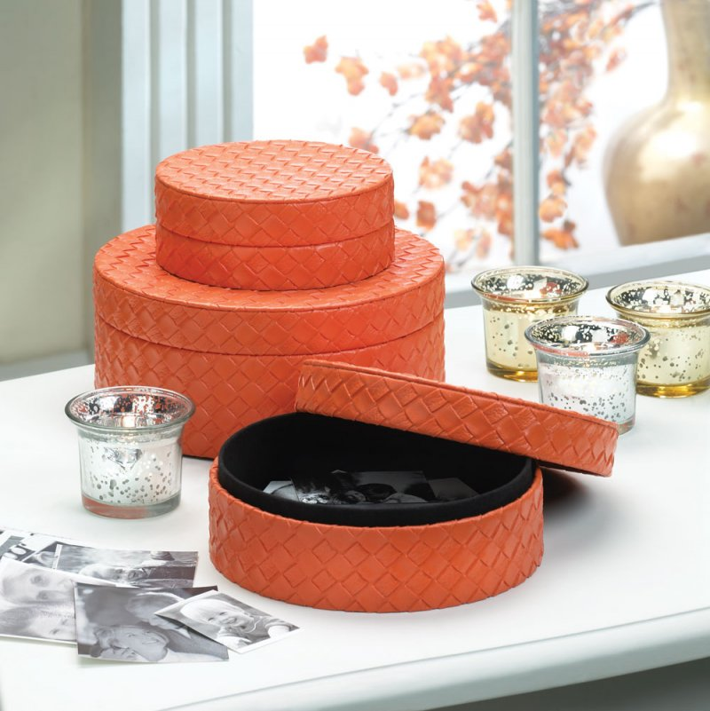 Image 0 of Set of 3 Tangerine Orange Faux Leather Keepsake Round Jewelry Boxes Felt Lining