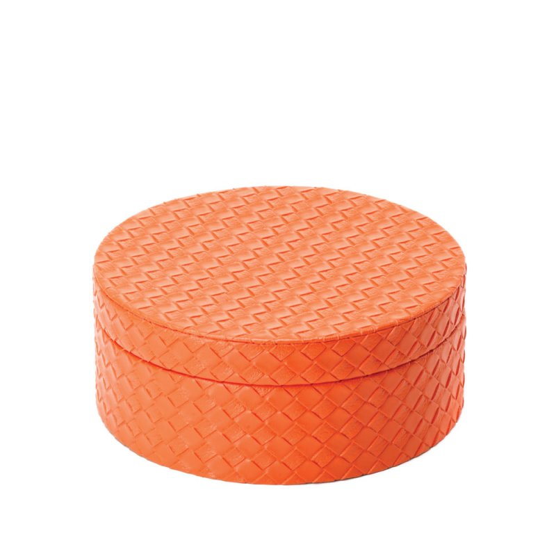 Image 1 of Set of 3 Tangerine Orange Faux Leather Keepsake Round Jewelry Boxes Felt Lining