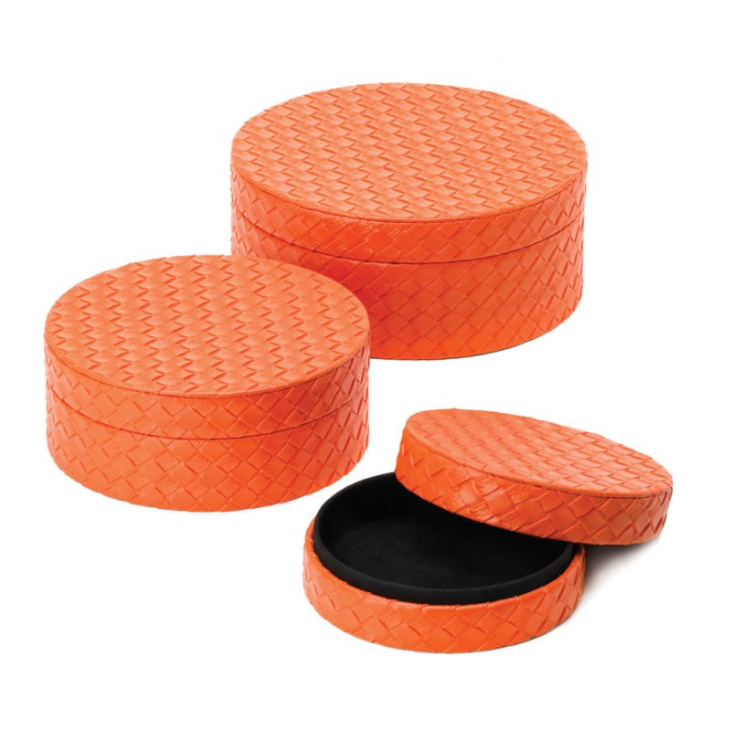 Image 2 of Set of 3 Tangerine Orange Faux Leather Keepsake Round Jewelry Boxes Felt Lining